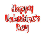 Happy Valentine's Day Text, 3D Illustration of High Resolution