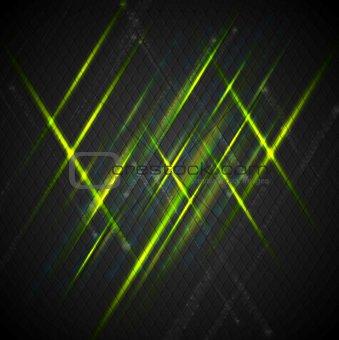 Green shiny light on dark background