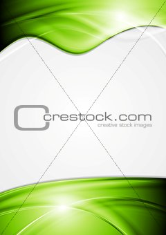 Bright vector flyer with green waves
