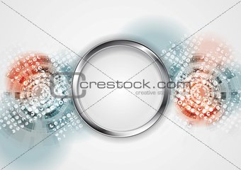 Grunge hi-tech vector background with metal circle