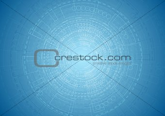 Abstract bright blue tech engineering background