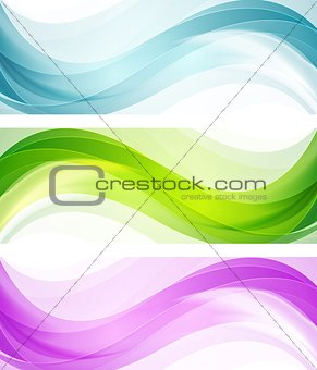 Abstract bright shiny waves. Vector banners
