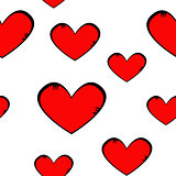 Seamless pattern of red hearts