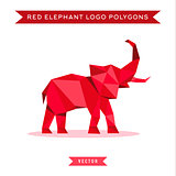Red elephant logo with reflux and low poly geometry, vector illustration