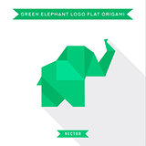 Green origami elephant logo in flat, high-quality vector illustration with low Shadow