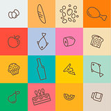 outline icons food and products in flat style vector illustration