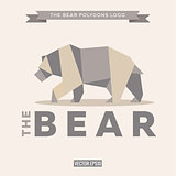 Bear logo origami with effects polygon and flat style vector