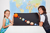 Kids presenting their science home project - the solar system