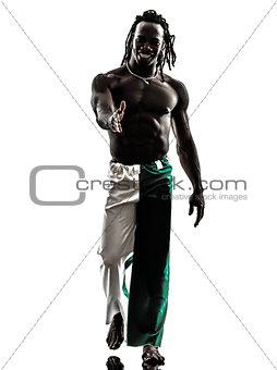 black man walking smiling saluting handshake  silhouette