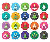 Christmas green tree - various types vector flat design icons set
