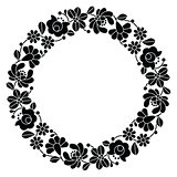 Kalocsai black embroidery in circle - Hungarian floral folk pattern