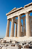 Columns of Parthenon temple in Athenian Acropolis