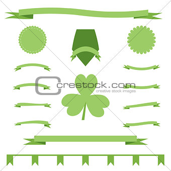 Green eco ribbons set of St. Patrick Day
