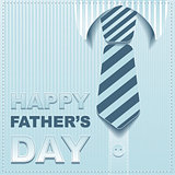 Striped tie on a background of the shirt. Template greeting card for Fathers Day