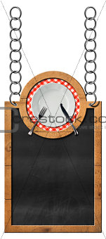 Blackboard with plate and cutlery - Food Template