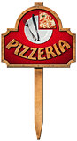 Pizzeria - Wooden Sign with Pole