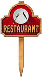 Restaurant - Wooden Sign with Pole