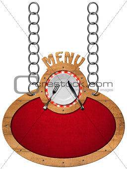 Food Menu - Sign with Metal Chain