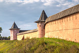 Walls and towers of monastery Saint Euthymius in Suzdal, Russia