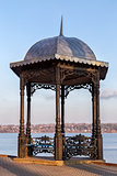 Pavilion on embankment of the river Volga in Kineshma