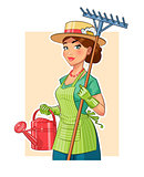 Gardener girl with rake and watering can