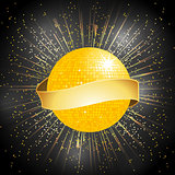 disco ball with banner on star burst background