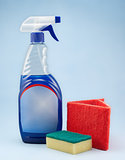 Cleaning spray bottle with sponge and fibre