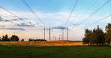 Electric pillars in a field