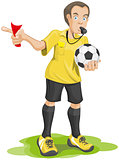 Soccer referee whistles and shows red card.