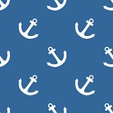 Tile sailor vector pattern with white anchor on navy blue background