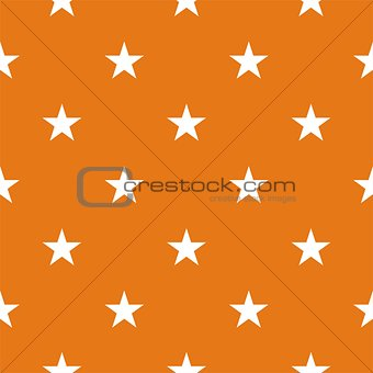 Tile vector pattern with white stars on orange background