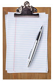 wooden clipboard with blank paper