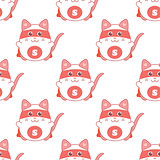 Cute seamless pattern with cat superman