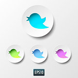 Blue bird icon in blue circle on white background.