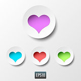 White paper heart icons with inside light on white background. Vector illustration