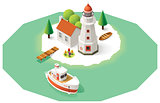 Vector isometric lighthouse
