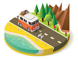 Vector isometric camper travel icon 2