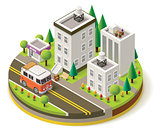 Vector isometric camper travel icon 1