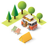 Vector isometric camper travel icon
