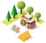 Vector isometric camper travel icon