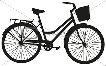 Black vector silhouette of a bicycle with a basket