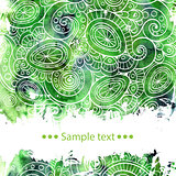 Vector template poster with watercolor paint and doodle graphic abstract background.
