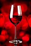 Wine on red background