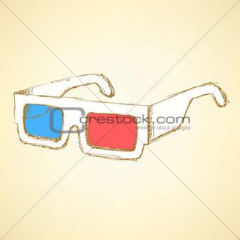 Sketch 3d glasses in vintage style