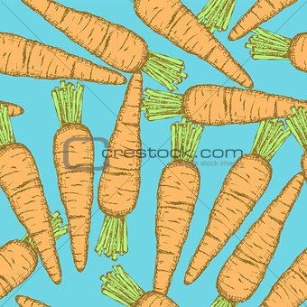Sketch tasty carrot in vintage style