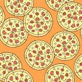 Sketch tasty pizza in vintage style