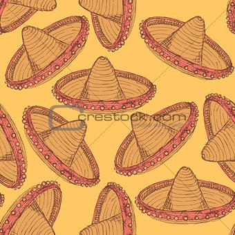 Sketch mexican sombrero in vintage style
