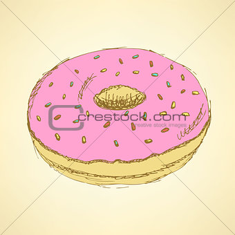 Sketch tasty donut in vintage style