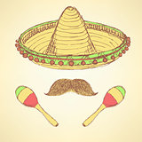 Sketch cinco de mayo banner in vintage style