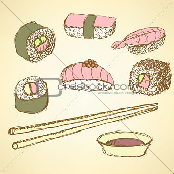 Sketch sushi rolls in vintage style